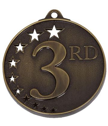 "Bronze 3rd Place Medal with Stars 52mm (2"")"