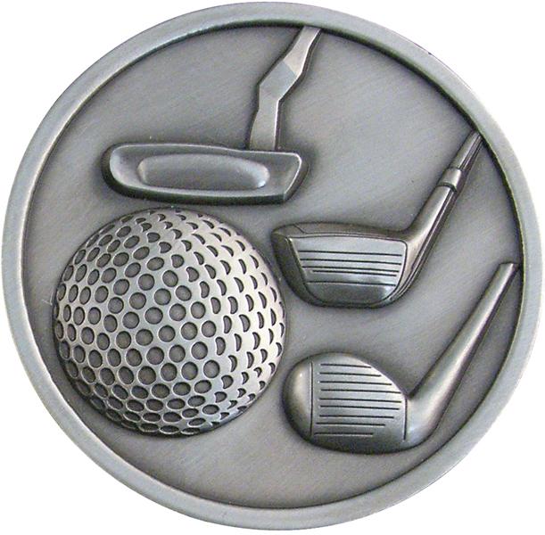 "Antique Silver Golf Clubs Medallion 70mm (2.75"")"