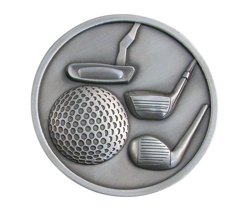 "Antique Silver Golf Clubs Medallion 70mm (2.75"")"