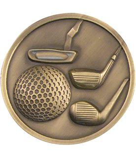"Antique Gold Golf Clubs Medallion 70mm (2.75"")"