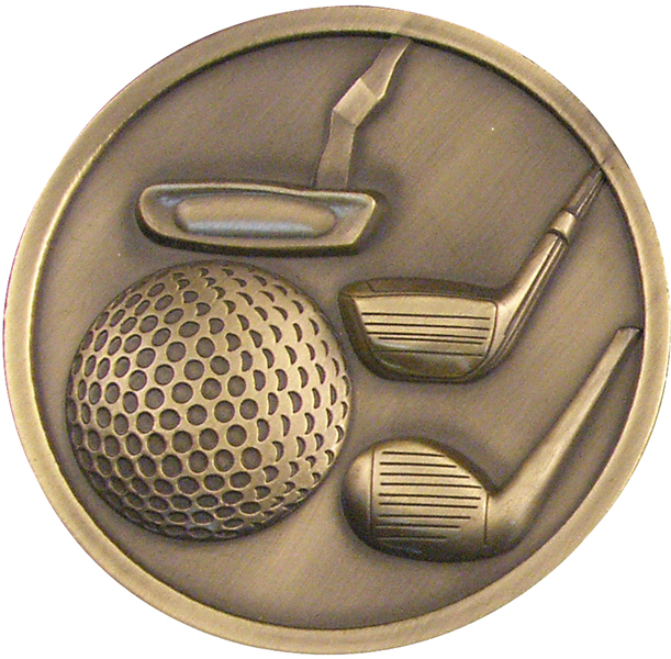 "Antique Gold Golf Clubs Medallion 70mm (2.75"")"