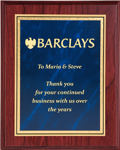 "Mahogany Finished Gold & Blue Marble Mist Plaque 23cm (9"")"