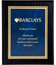 "Black Ash Finished Gold & Blue Marble Mist Plaque 23cm (9"")"