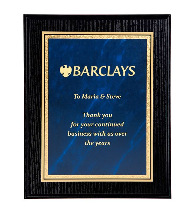 "Black Ash Finished Gold & Blue Marble Mist Plaque 23cm (9"")"