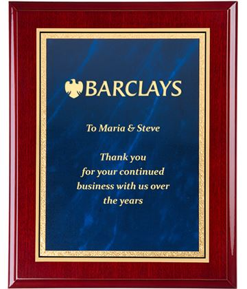"Gloss Rosewood Finished Gold & Blue Marble Mist Plaque 25.5cm (10"")"