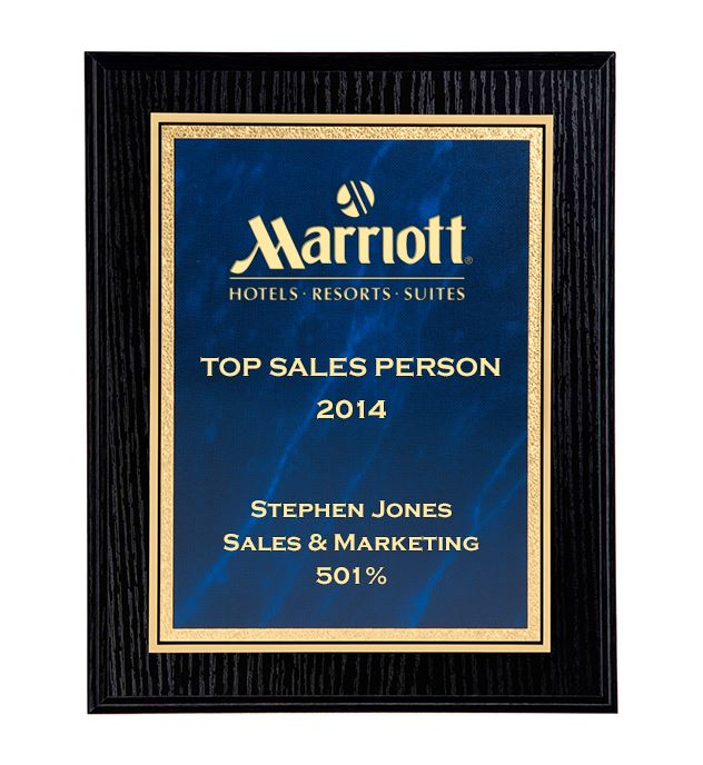 "Black Ash Finished Gold & Blue Marble Mist Plaque 25.5cm (10"")"