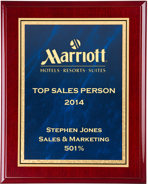 "Gloss Rosewood Finished Gold & Blue Marble Mist Plaque 30.5cm (12"")"