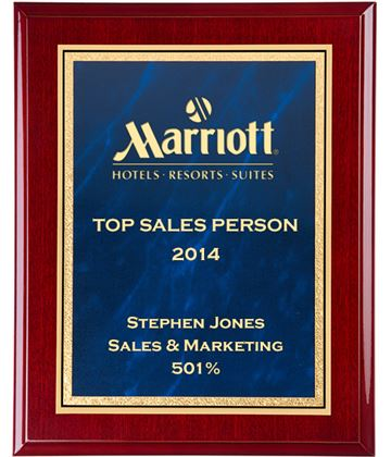 """Gloss Rosewood Finished Gold & Blue Marble Mist Plaque 30.5cm (12"""")"""