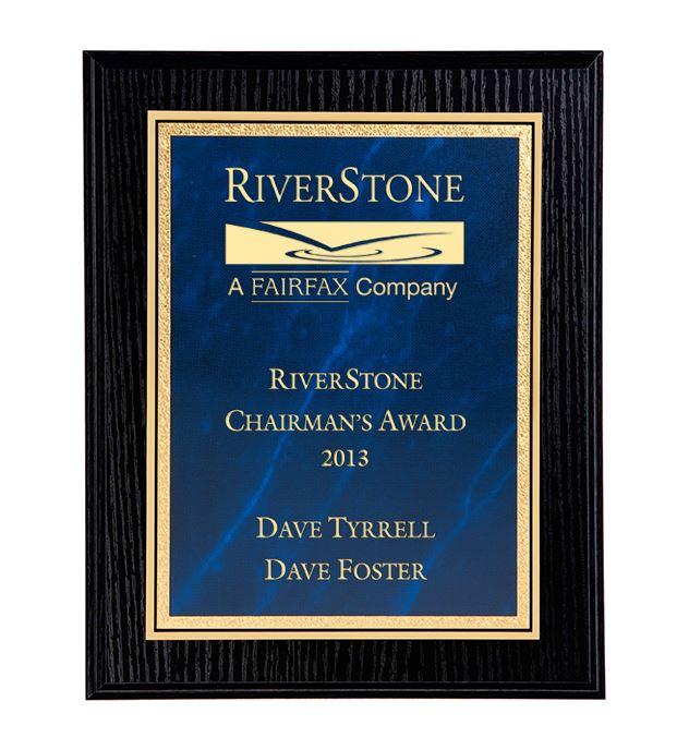 "Black Ash Finished Gold & Blue Marble Mist Plaque 30.5cm (12"")"