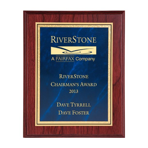 """Mahogany Finished Gold & Blue Marble Mist Plaque 30.5cm (12"""")"""