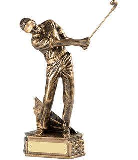 """Gold Resin Male Golf Trophy in Follow Through Position 21.5cm (8.5"""")"""