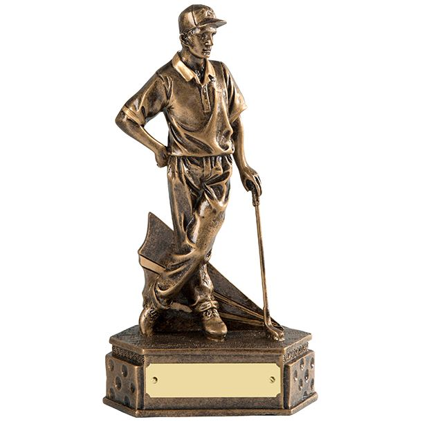 "Gold Resin Male Golf Trophy Holding Golf Club 15cm (6"")"