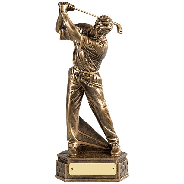 """Gold Resin Male Golf Trophy in Backswing Position 24cm (9.5"""")"""