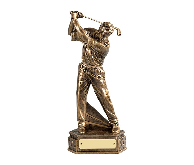 "Gold Resin Male Golf Trophy in Backswing Position 18cm (7"")"
