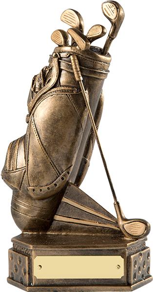"""Gold Golf Bag Trophy on Dimpled Base 18cm (7"""")"""