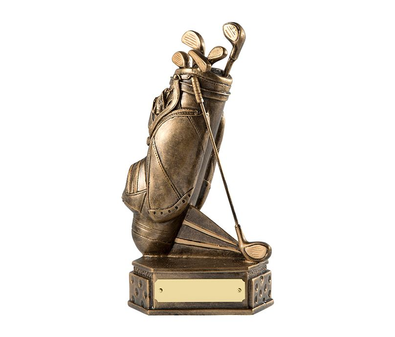 "Gold Golf Bag Trophy on Dimpled Base 18cm (7"")"