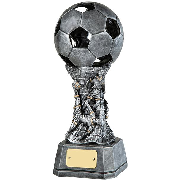 """3D Antique Silver Resin Football Trophy with Net Design 23cm (9"""")"""