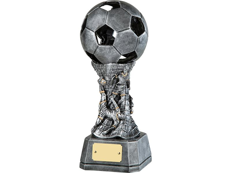 3d Antique Silver Resin Football Trophy With Net Design