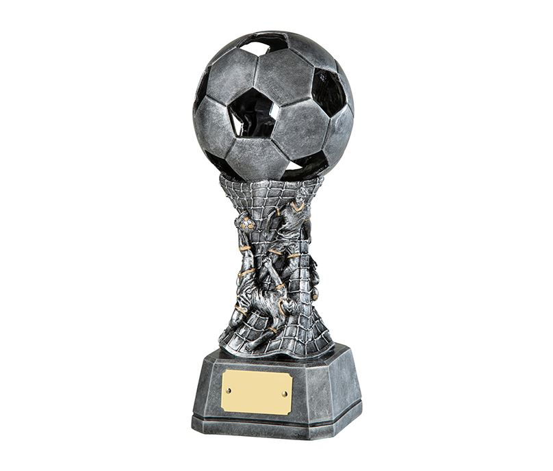 "3D Antique Silver Resin Football Trophy with Net Design 23cm (9"")"