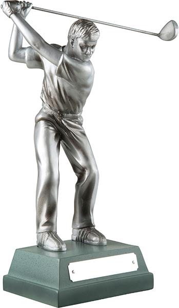 """Silver Finish Full Swing Male Golfer Trophy 15cm (6"""")"""