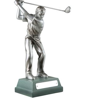 "Silver Finish Full Swing Male Golfer Trophy 20.5cm (8"")"