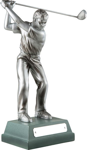 "Silver Finish Full Swing Male Golfer Trophy 15cm (6"")"