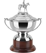 "Silver Plated Horse Racing Presentation Cup on Mahogany Base 32cm (12.5"")"