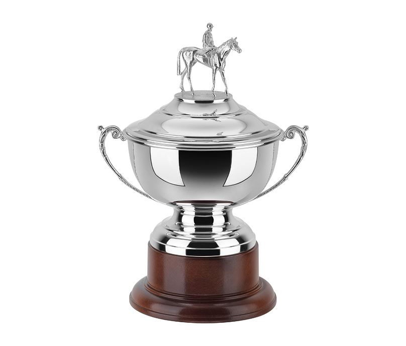"""Silver Plated Horse Racing Presentation Cup on Mahogany Base 32cm (12.5"""")"""