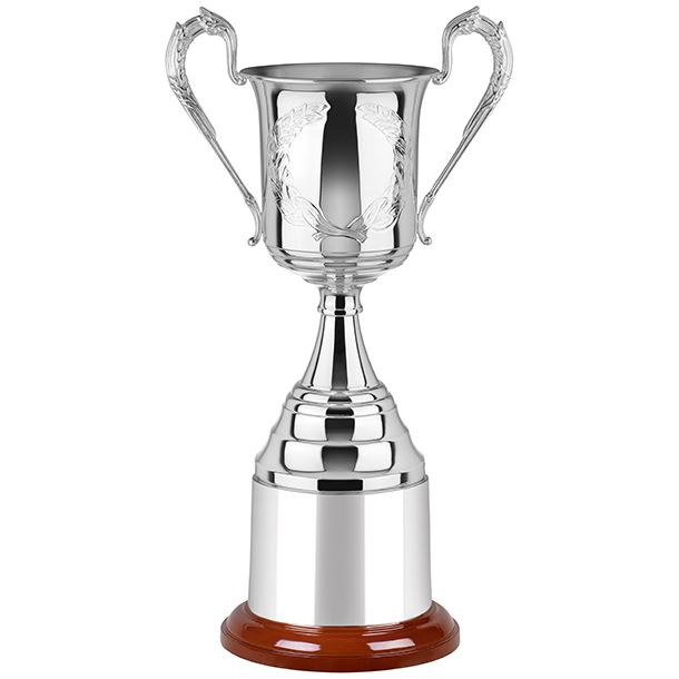 """Silver Plated Hand Chased Presentation Cup with Mega Plinthband 23.5cm (9.25"""")"""