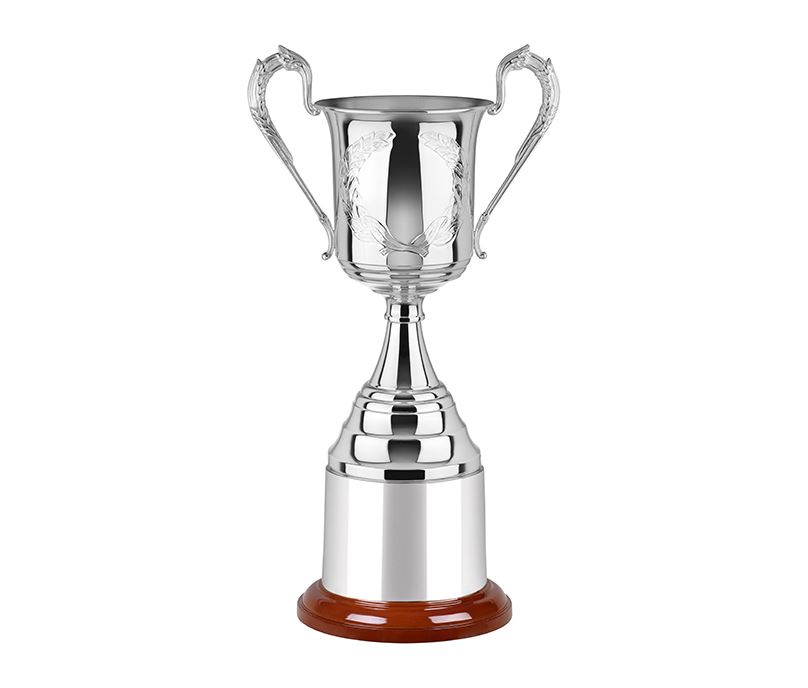 "Silver Plated Hand Chased Presentation Cup with Mega Plinthband 41.5cm (16.25"")"