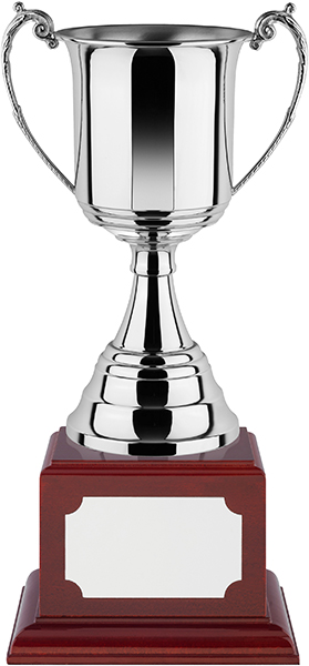 """Revolution Nickel Plated Trophy Cup on Rosewood Base 41.5cm (16.25"""")"""
