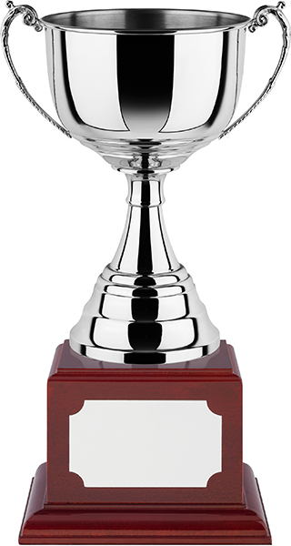 """Revolution Nickel Plated Wide Bowl Cup on Rosewood Base 38cm (15"""")"""