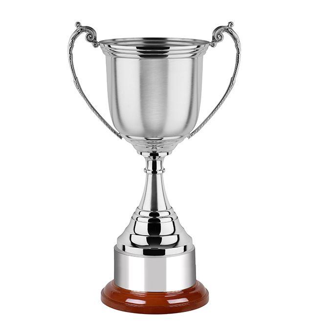 "Satin Revolution Nickel Plated Cup on Wooden Base 28cm (11"")"