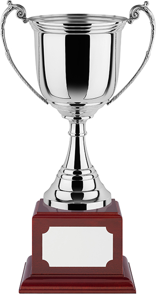 "Revolution Nickel Plated Presentation Cup with Rosewood Base 38cm (15"")"
