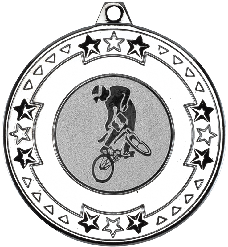 "Silver Star & Pattern Medal with 1"" BMX Centre Disc 50mm (2"")"