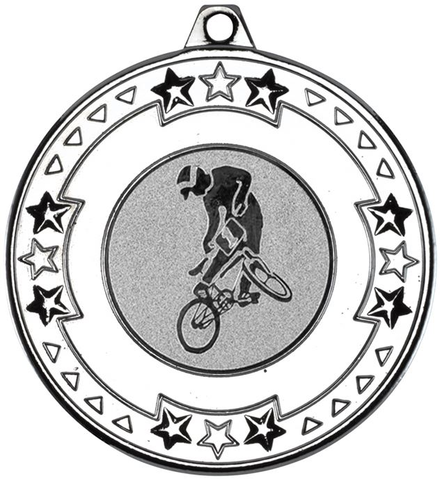 """Silver Star & Pattern Medal with 1"""" BMX Centre Disc 50mm (2"""")"""