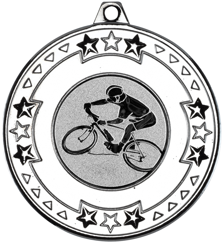 """Silver Mountain Bike Cycling Medal with Star Pattern 50mm (2"""")"""