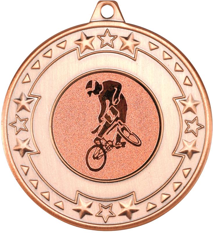 "Bronze Star & Pattern Medal with 1"" BMX Centre Disc 50mm (2"")"