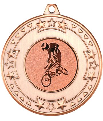 "Bronze Star & Pattern Medal with 1"" BMX Centre Disc 50mm (2"")"