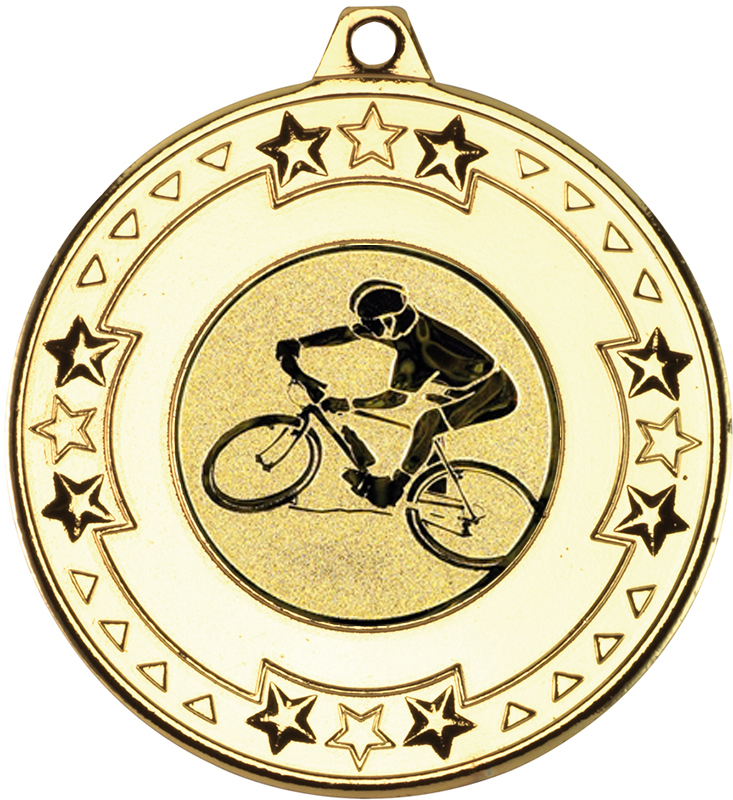 """Gold Mountain Bike Cycling Medal with Star Pattern 50mm (2"""")"""