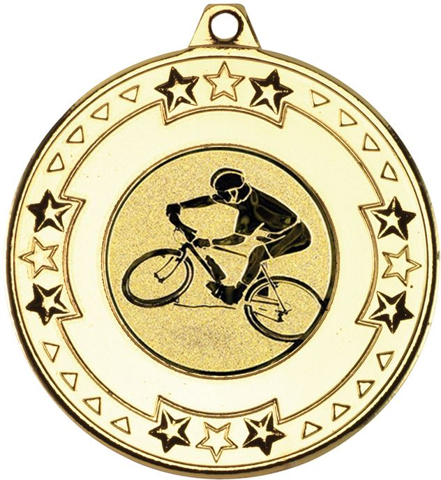 "Gold Mountain Bike Cycling Medal with Star Pattern 50mm (2"")"