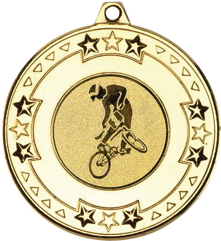 """Gold Star & Pattern Medal with 1"""" BMX Centre Disc 50mm (2"""")"""
