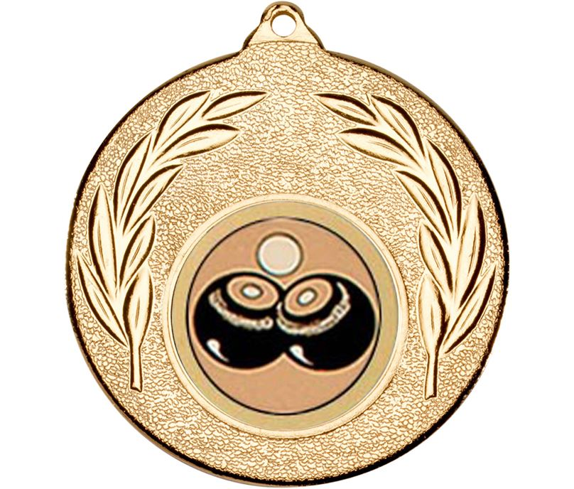 """Gold Leaf Victory Medal (2"""") with 1"""" Lawn Bowls Centre"""