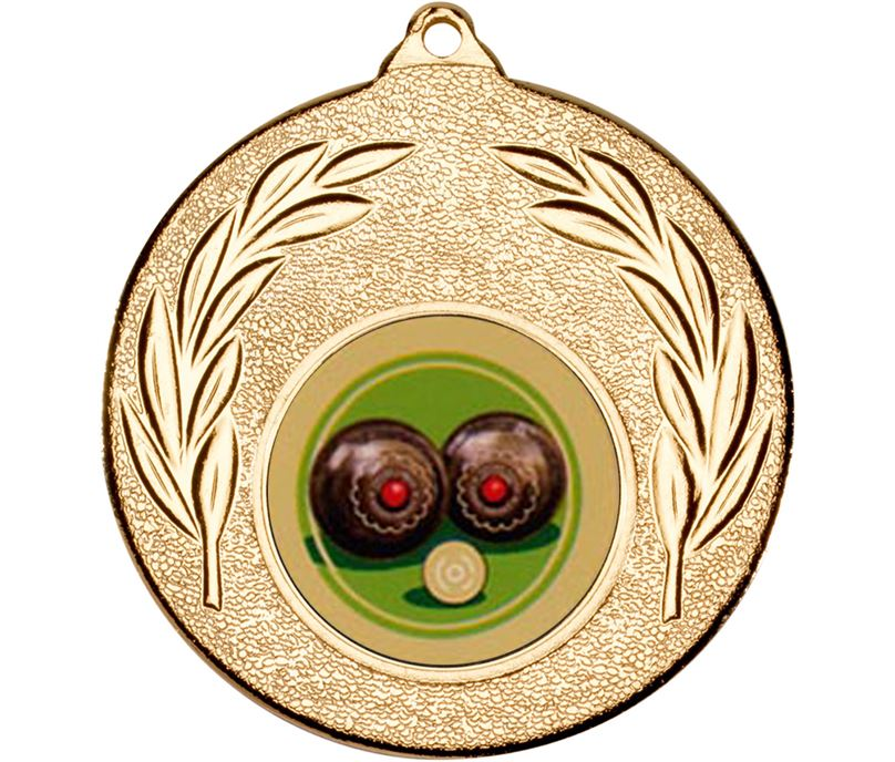 "Gold Leaf Victory Medal (2"") with 1"" Coloured Lawn Bowls Centre"