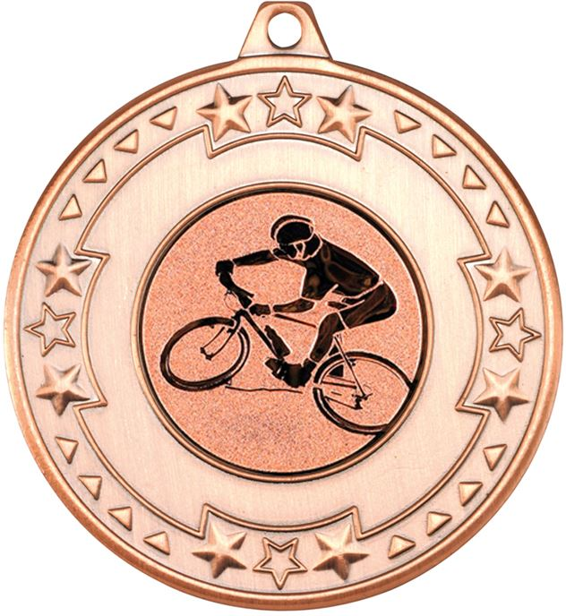 """Bronze Mountain Bike Cycling Medal with Star Pattern 50mm (2"""")"""