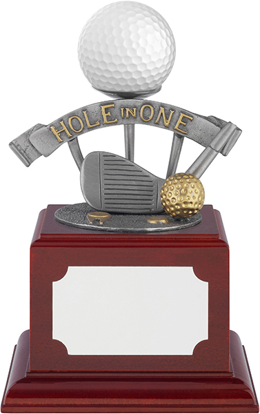 """Hole In One Pewter Golf Ball Holder Trophy on Rosewood Base 13.5cm (5.25"""")"""
