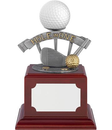 "Hole In One Pewter Golf Ball Holder Trophy on Rosewood Base 13.5cm (5.25"")"