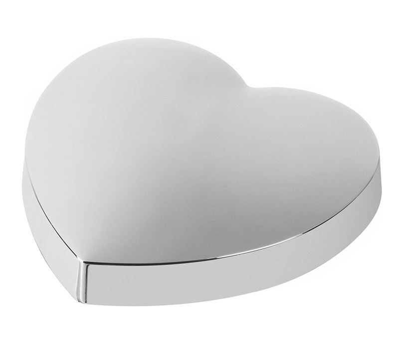 "Silver Metal Heart Shaped Paperweight with Polished Finish 10cm (4"")"