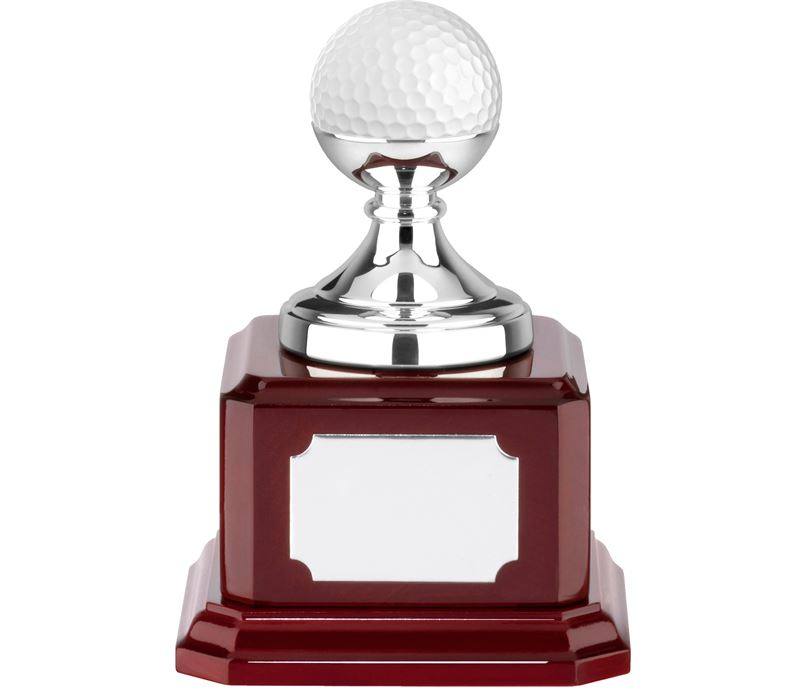 "Nickel Plated Golf Ball Holder on Piano Wood Base 11.5cm (4.5"")"