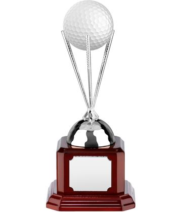 "Nickel Plated Golf Ball Stand on Piano Wood Base 15cm (6"")"